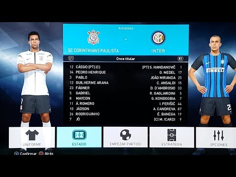 Gameplay 4K PES 2018 - INTER vs CORINTHIAS