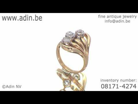 Typical Art Nouveau diamond engagement ring inventory number (08171-4274)