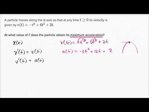 Motion Problems Finding The Maximum Acceleration Video