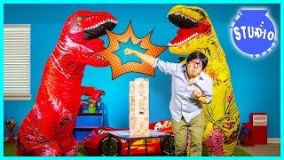 Giant Life Size T-Rex Dinosaurs Crash the Office and Play Jenga!!!