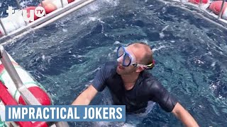 In this punishment, Murr takes a dive into shark infested waters.SUBSCRIBE to get the latest truTV content: http://bit.ly/truTVSubscribeCheck out videos from Impractical Jokers: http://bit.ly/IJTruTVCheck out videos from Billy On The Street: http://bit.ly/BillyOnTheStreetCheck out videos from Adam Ruins Everything: http://bit.ly/ARETruTVCheck out videos from The Carbonaro Effect: http://bit.ly/TheCarbonaroEffectCheck out videos from Comedy Knockout: http://bit.ly/ComedyKnockoutCheck out videos from Hack My Life: Inside Hacks: http://bit.ly/HackMyLifeCheck out videos from Talk Show The Game Show: http://bit.ly/TalkShowTheGameShowCheck out videos from Upscale with Prentice Penny: http://bit.ly/UpscaleWithPrenticePennySee more from truTV: http://bit.ly/FunnyBecauseItsTRULike truTV on Facebook: http://bit.ly/truTVFacebookFollow truTV on Twitter: http://bit.ly/truTVTweetsFollow truTV on Instagram: http://bit.ly/truTVInstaAbout truTV:Seen across multiple platforms in 90 million households, truTV delivers a fresh and unexpected take on comedy with such popular original series as Impractical Jokers, Billy on the Street, The Carbonaro Effect, Adam Ruins Everything, Hack My Life and Fameless, as well as the original scripted comedy Those Who Can't. The fun doesn't stop there. truTV is also a partner in airing the NCAA Division I Men's Basketball Championship.Impractical Jokers - Swimming with the Sharks (Punishment)  truTVhttp://bit.ly/truTVSubscribe