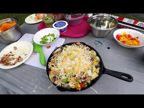 Cast Iron Pan Loaded Nachos - Campfire Cooking