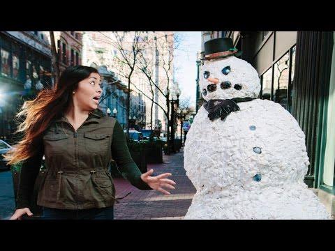Funny scary snowman hidden camera video 2019
