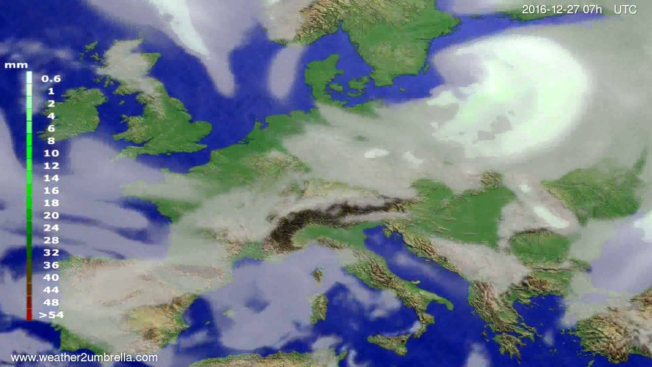 Precipitation forecast Europe 2016-12-23