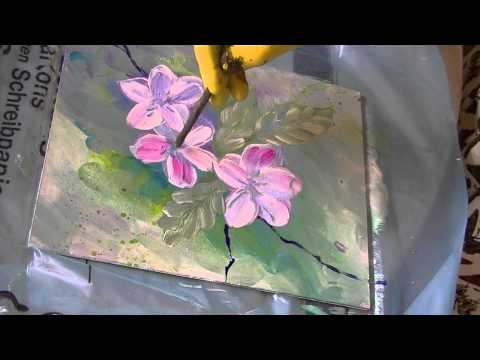 Acrylmalerei für Anfänger Apfelblüten acrylic painting for beginners apple blossoms