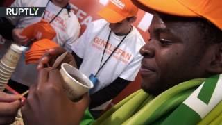 В Ростове-на-Дону — пледы, в Краснодаре — чай: акция Gentlfan перед матчем России с Кот-д'Ивуаром