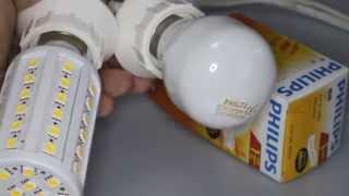 Сравнение светодиодной лампы и лампы накаливания 60Вт