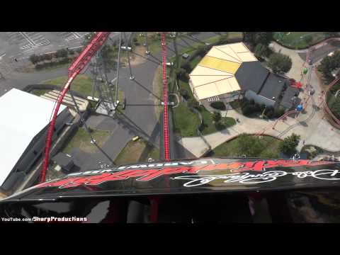 Intimidator - Front Rider's Perspective on Intimidator (Bolliger & Mabillard: Mega Coaster) at Carowinds in Charlotte, North Carolina, USA. Length: 5316' Height: 232' Drop...