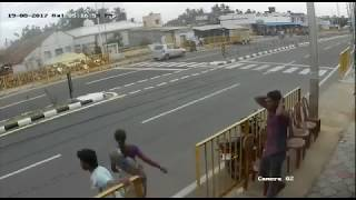 CCTV recording of the accident, which has gone viral on social media, shows G Priya, aged 30, crossing the highway on her ...