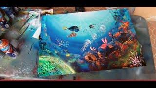 Spray paint art coral reefs