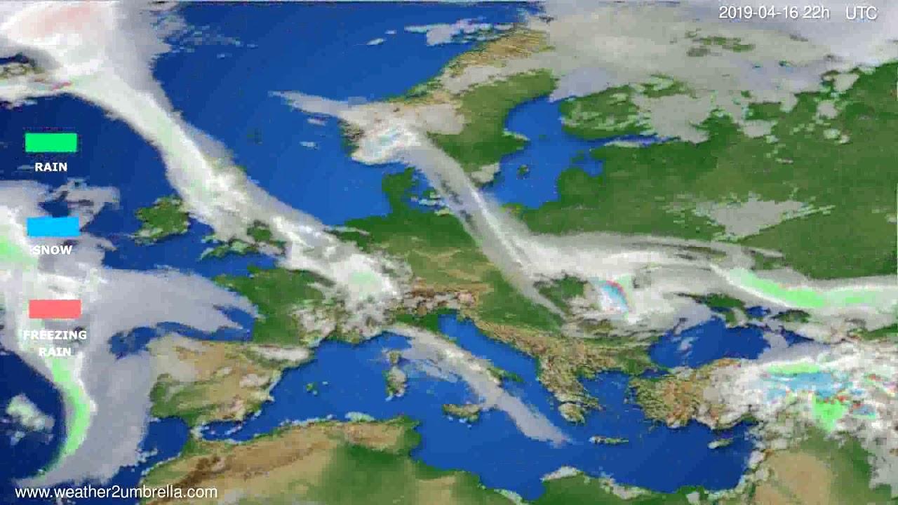 Precipitation forecast Europe // modelrun: 00h UTC 2019-04-14
