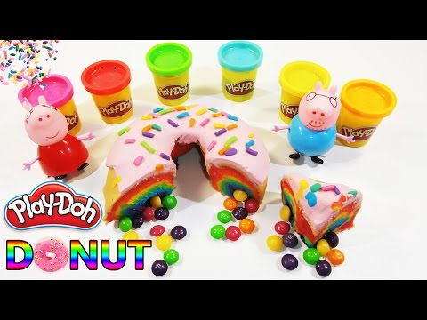 How to make Play Doh Giant Rainbow Donut with Skittles Inside