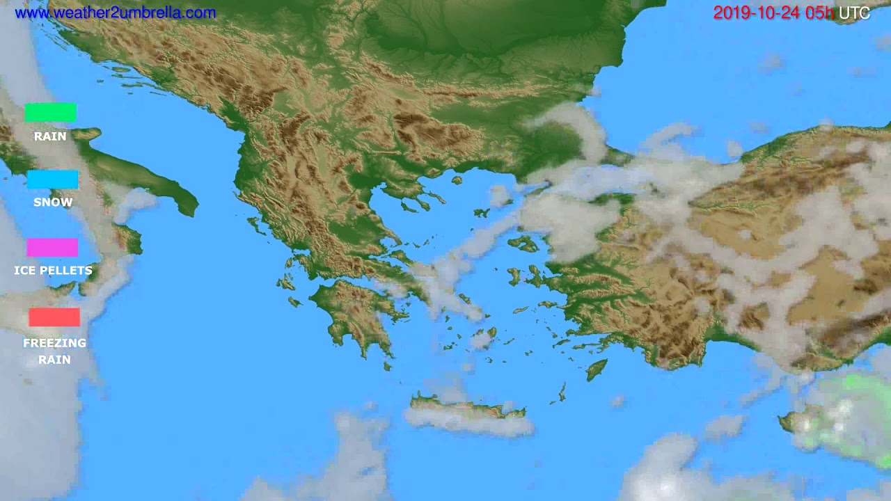 Precipitation forecast Greece // modelrun: 00h UTC 2019-10-23