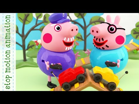 Fun cars Pig Peppa Pig toys stop motion animation in english