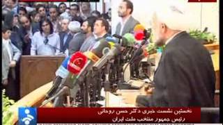 Hasan Rhani answer question about release of Mousavi&Karoubi in press conference