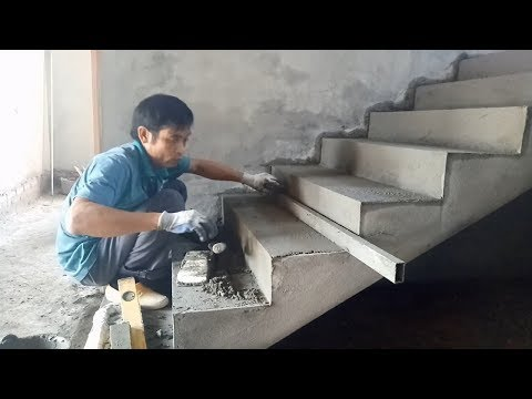 Amazing Fastest Skills Contruction - How to Render Stairs Using Sand And Cement, House Construction