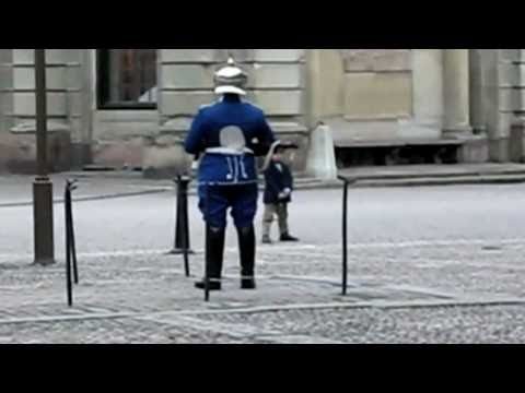 Swedish Royal guard mimics kid doing impression of him.