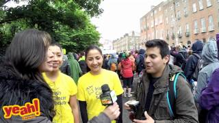 Yeah! Espanol at women's marathon supporting cancer 2015 Dublin Ireland