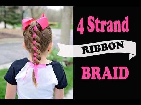 4 strand ribbon braid - simple hairstyles with ribbon