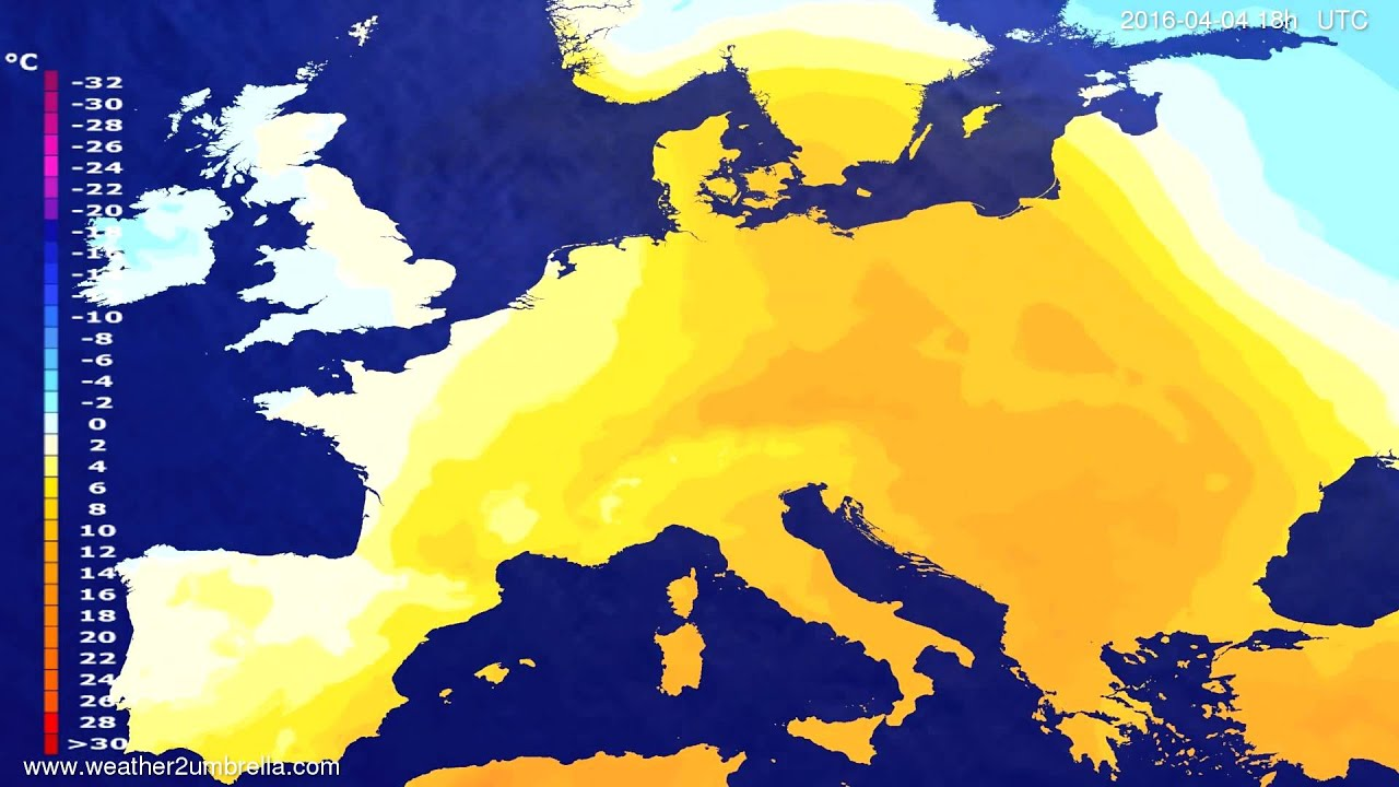 Temperature forecast Europe 2016-04-01