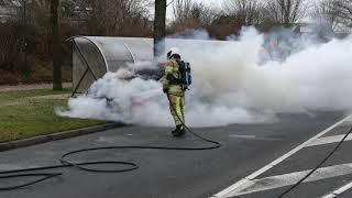Autobrand op de Westsingel in Bunschoten