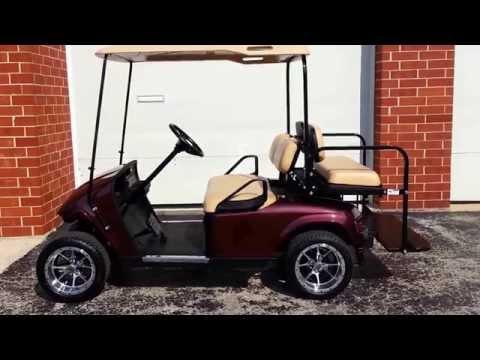 48 Volt EZGO TXT Golf Cart, NEW Black Cherry Metallic Body Custom 12 Inch Rims