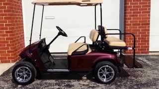 7. 48 Volt EZGO TXT Golf Cart, NEW Black Cherry Metallic Body Custom 12 Inch Rims