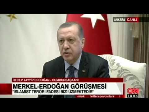 Merkel ile Erdoğan'dan basın açıklaması!