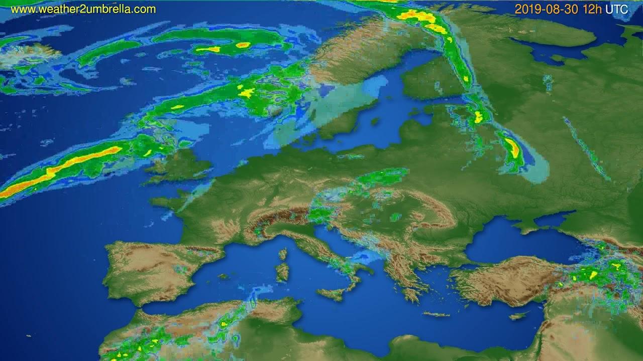 Radar forecast Europe // modelrun: 00h UTC 2019-08-30