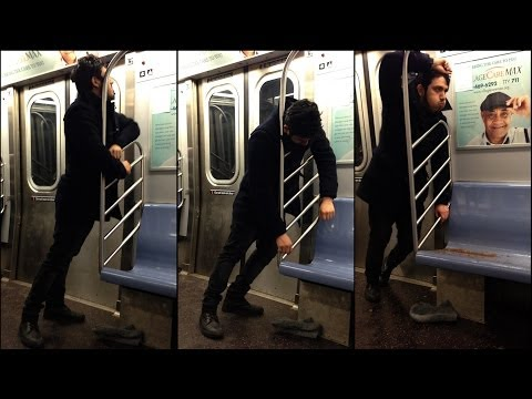 Video: Man throwing up on the NY Subway