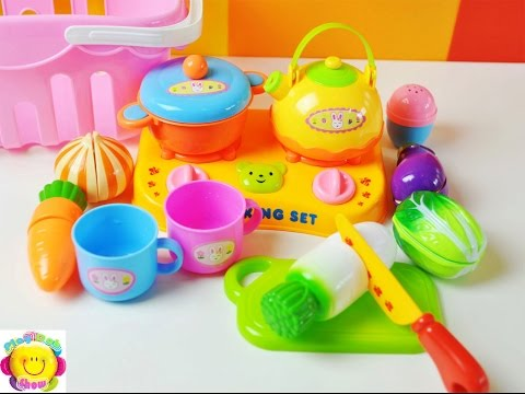Toy Cutting And Cooking Soup Shopping Basket Full Of Velcro Vegetables Kitchen Toy Food