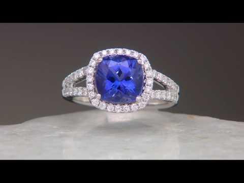 Cushion Cut Tanzanite & Diamond Ring, 14K Gold 3.00 cts on QVC