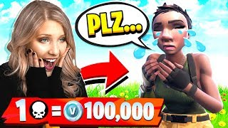 FORTNITE WORLD'S BIGGEST NOOB! 1 KILL = 100,000 *FREE* VBUCKS!
