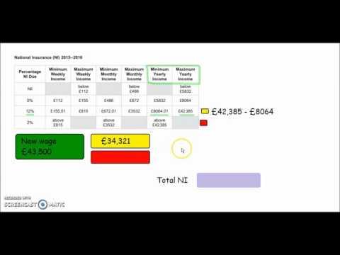 AQA - Core Maths 2016 Exam Paper 1, Q6. (National Insurance & Income Tax)