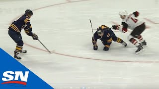 Sabres' Mittelstadt Wrists Top Shelf as Sheary Falls Making Pass by Sportsnet Canada