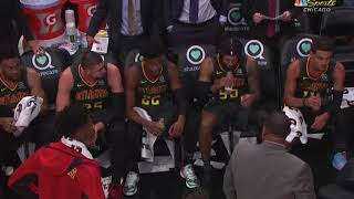 Trae young didnot flinch after his coach threw chair