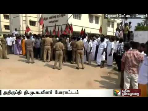 TN-Polls-DMK-cadres-protest-against-Jolarpettai-election-candidate