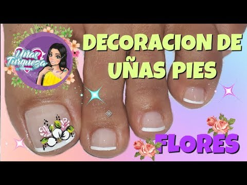 Decoracion de uñas - Decoración de Uñas Pies FLORES/modelo de decoración de  uñas