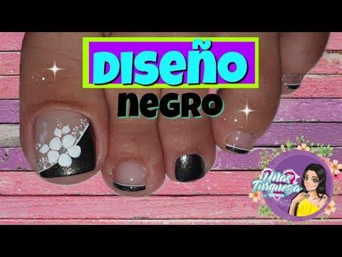 Uñas decoradas - Uñas Turqueza/Decoración de uñas en negro/DECORACIÓN UÑAS PIES