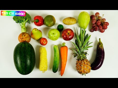 Learn Names Of Real Fruits And Vegetables Cutting For Children Kids - Learning Videos