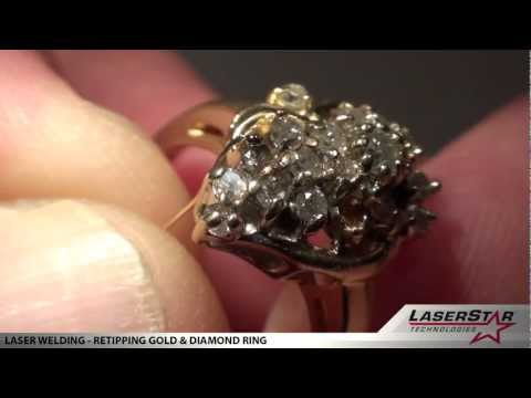 """<h3>Laser Welding - Retipping Gold & Diamond Ring </h3>LaserStar Technologies ( <a dir=""""ltr"""" title=""""http://laserstar.net"""" href=""""http://laserstar.net"""" target=""""_blank"""" rel=""""nofollow"""">http://laserstar.net</a> ) - in this jewelry laser welding video, the laser welding operator is re-tipping a gold and diamond ring. This laser welding repair is one of many common jewelry repair welding applications that can be done with an iWeld laser welding system.<br /><br />"""