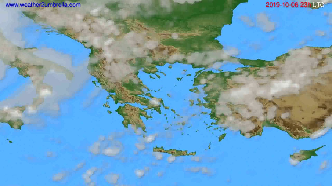 Cloud forecast Greece // modelrun: 12h UTC 2019-10-03
