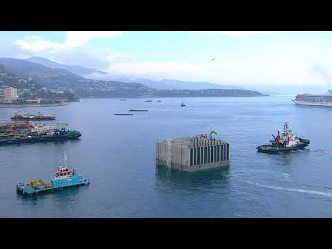 Extension en mer : inauguration du premier caisson