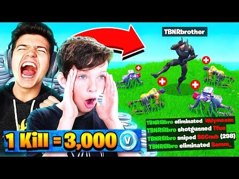 WORLDS BEST 12 YEAR OLD! 1 Kill = 3000 FREE V-Bucks Fortnite W/ My Little Brother