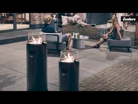 Enders NOVA LED BLACK/SILVER // Terrassenfeuer // Ambiente für Terrasse // ECO-Brenner