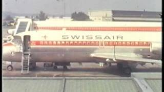 Flying with Swissair over Switzerland in the sixties. From Geneva to Zurich and Basle.