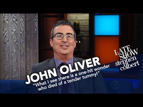 John Oliver, Stephen Colbert battle each other with wax president insults