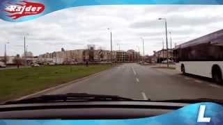Rajder - Toruń trasa egzaminacyjna - zawracanie na rondzie Czadcy w Toruniu - Kurs jazdy 2014