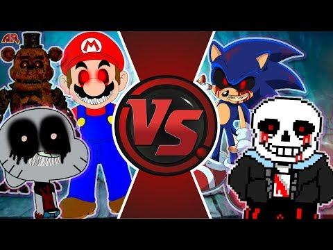 Sans.EXE vs Sonic.EXE vs Mario.EXE vs Gumball.EXE vs Freddy.EXE & More! EXE FREE FOR ALL!