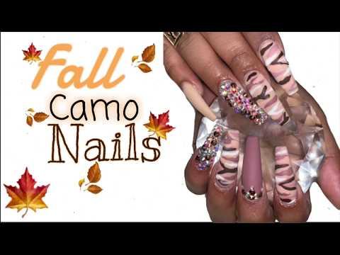 Fall Camp Nails  Acrylic Nails  Long Coffin Nails